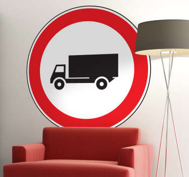 Sign decal of a lorry in a circle with red borders that warns us that we are in an area where lorries are present.