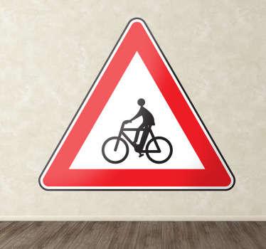 Naklejka znak ostrzegawczy rowerzyści