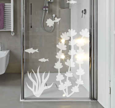 Beautiful design of fish and seaweed illustration decal for bathroom shower door, glass door and other surfaces of desire.