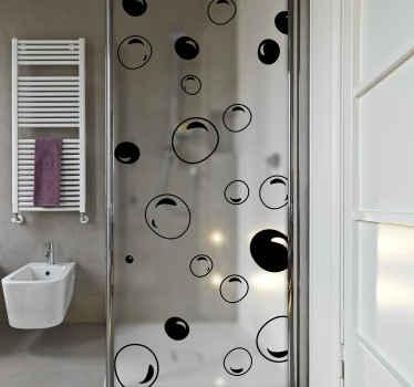 Vinilo mampara ducha con dibujos de burbujas de color mono. El color es personalizable, hecho de material de calidad, duradero y adhesivo.