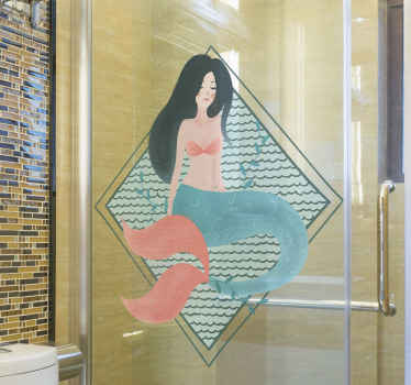 An amazing ns fantasy inspired mermaid shower decal. The mermaid is illustrated to be sitting on it tail. Made of quality vinyl and durable.