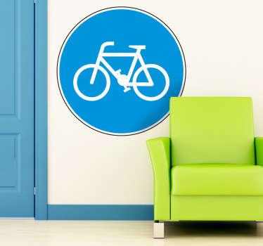 Wandtattoo Radfahrer Weg Schild