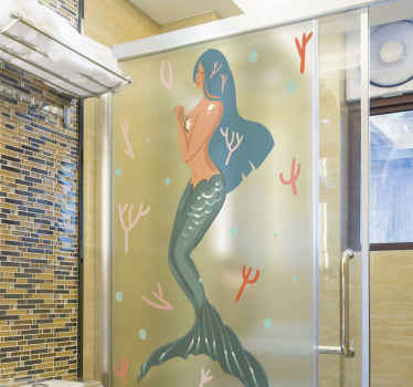 Lovely decorative shower door decal presenting a lovely shy mermaid under the sea. Made from quality vinyl, easy to apply, adhesive and durable.
