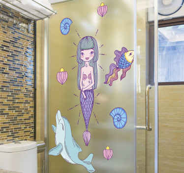 Beautiful mermaids with dolphin shower sticker to decorate a shower door in a lovely way. Easy to apply with a spatula, adhesive and durable.