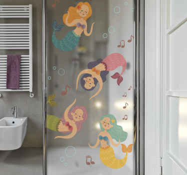Illustration of different dancing mermaid shower screen decal. It is colorful and super lovely for a shower screen, contain music symbols and bubbles.