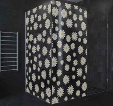 Vinilo mampara ducha de flores de margarita para puerta de ducha. La puerta de la ducha se verá súper bonita y atractiva ¡Fácil de colocar!