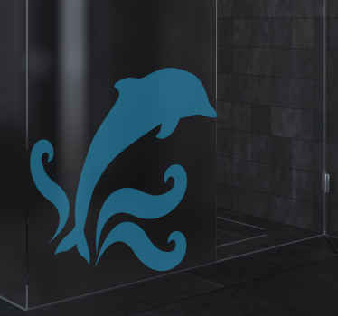 A jumping dolphin shower screen decal that can be customize in any solid colour of choice. Original and you can math the colour to your preference.