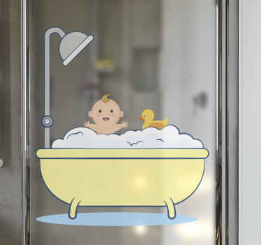 Decorative cute and adorable baby shower decal illustration for home. The design is a baby in a bathtub with a shower stand by it.