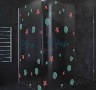 A decorative refreshing shower door decal that would incite beautiful feelings as you enjoy shower on your space. Customizable to any size dimension.