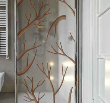 Beautiful shower door decal with design of various tree branches. The branches appears to have loose all it leaves and in brown colour .