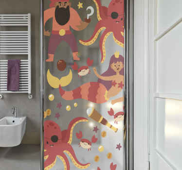 A shower door decal for lovers of sea life and activities. The design on this translucent shower decal features a pirates, mermaids, octopus, etc.