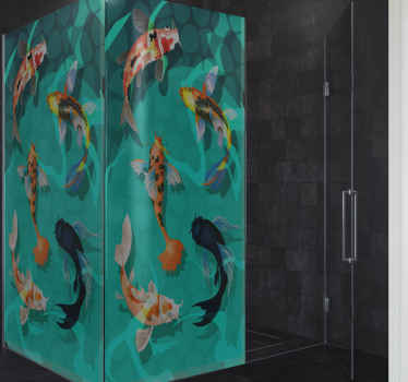 Cover your shower screen with this amazing green background decorative shower door decal. It design illustrates different koi swimming in the ocean.