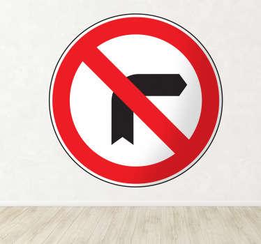 Muursticker verboden rechtsaf slaan