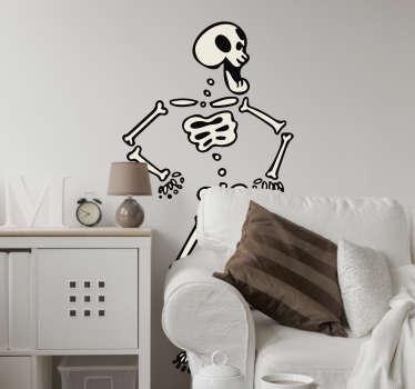 Aufkleber für Feiertag Tanzendes Halloween Skelett