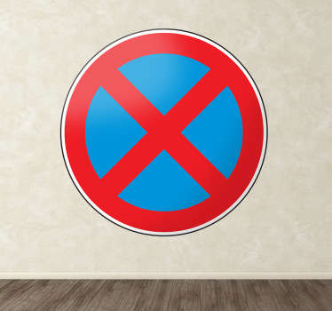 Room Stickers - Highway Code - No Stopping (Clear way) road sign.  Select the size that suits you.