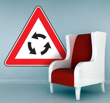 Eye-catching red, white and black sign wall sticker of the roundabout symbol, perfect for decorating your bedroom in a unique and quirky way or for placing next to a street to notify people that there is a change in the road up ahead.