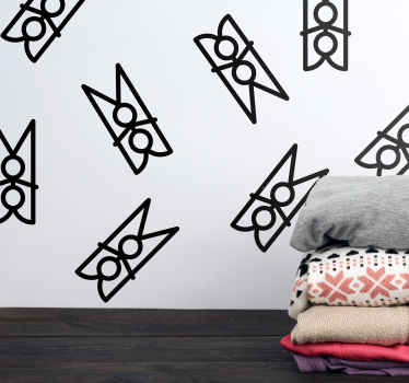 Illustrative laundry room wall decal with design of different laundry tweezers. Easy to apply, original, durable and the colour is customizable.