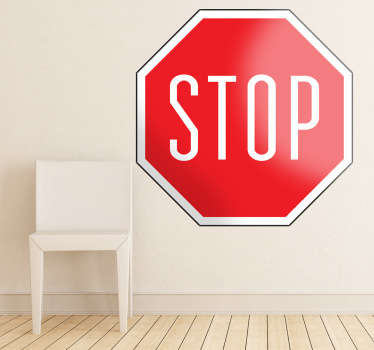 A sign vinyl decal of the typical octagonal symbol that tells us when to stop! A brilliant retro decal to decorate your bedroom.