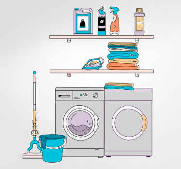 Colorful laundry room sticker for shop window and for any other space. The design illustrates a washing machine with laundry products, towel, etc.