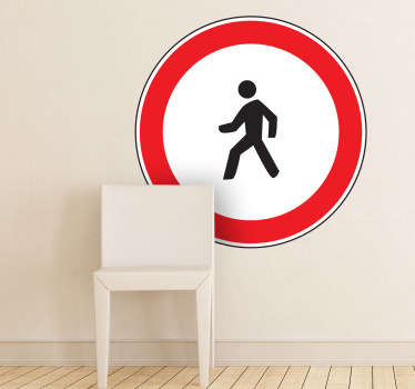 Sign sticker of a pedestrian walking. A great decal that can be used at home or at work to create a modern and quirky atmosphere, or in public to tell people that this is a pedestrian zone where people can walk.