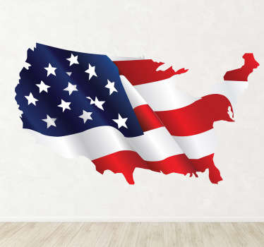 Vibrant USA wall sticker showing the American flag in the shape of country, perfect for decorating any living room, bedroom, teen's room and more! Personalise the empty spaces on your walls with stars and stripes of the United States flag, this red, white and blue design is ideal for you.