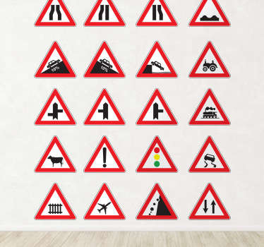 A sticker collection of different traffic signs to decorate your home and also to make everyone aware of the important traffic signs.
