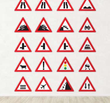 Naklejki dekoracyjne znaki ostrzegawcze