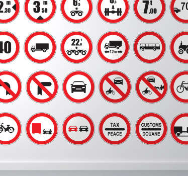 This wall decal will show the different prohibited signs on the road. They are especially suitable for the decoration of driving schools.