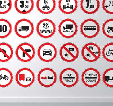 Prohibited Set of Sign Sticker