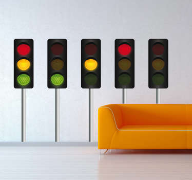 도로 신호등 벽 스티커