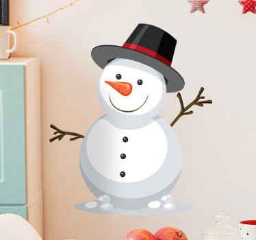 En illustration julemærkat af en snemand med armene ud. Dejligt at dekorere hjem og andre steder i julefesten.