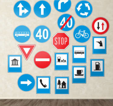 Collection of blue, red, black and white road sign wall stickers for practical use or for giving your home/business a modern and quirky look. This eye-catching sticker set comes 21 vibrant vinyl designs, all available in different sizes and made out anti-bubble material.