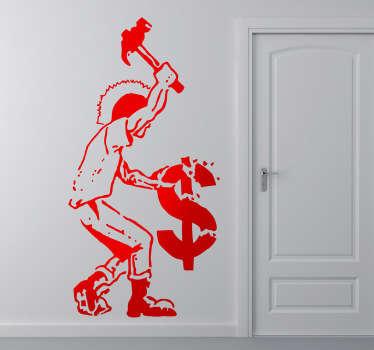 Autocollant mural anticapitaliste
