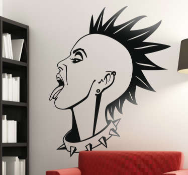A great room wall sticker illustrating a girl with a mohawk sticking her tongue out! Superb monochrome decal to decorate your bedroom!