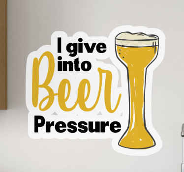 An awesome beer drink vinyl sticker for fans and lovers of beer. It is easy to apply, durable and available in various sizes.