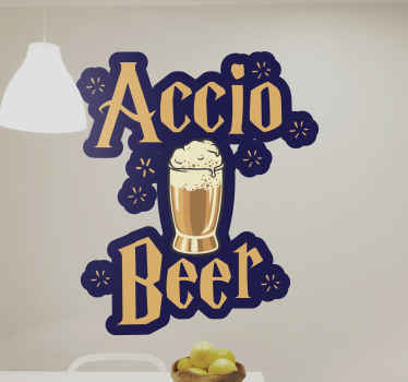 Accio beer drink vinyl decal for harry porter fans! This awesome  Harry Potter beer drink sticker unites your love of harry porter with your beer.