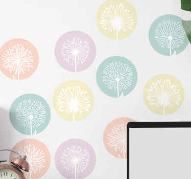 Different Dandelion stickers flower  on various coloured round background. Good idea to beautify the room of children and other space.