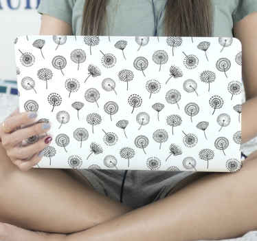 White background with dandelion patterned laptop decal. Suitable for everyone and it application is really easy. It is easy to apply and durable.