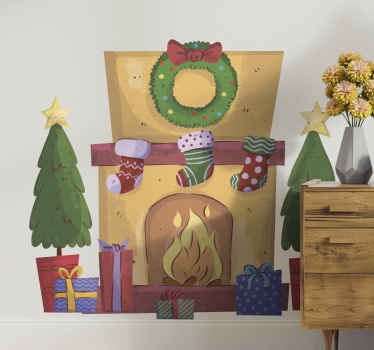 Christmas wall sticker which features an amazing image of a fireplace covered in decorations and stockings with a roaring fire in the centre.