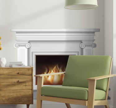 Fireplace wall sticker which  features an amazing image of a burning fire inside a detailed white fireplace. Discounts available.