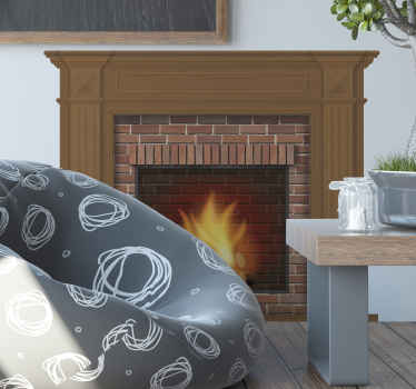 Fireplace sticker which  features an amazing image of a brick fireplace with a roaring fire inside. Sign up for 10% off now.