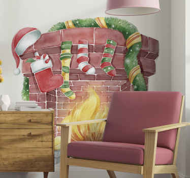 Christmas wall sticker which features a stunning image of a fire place decorated with Christmas stockings and decorations.