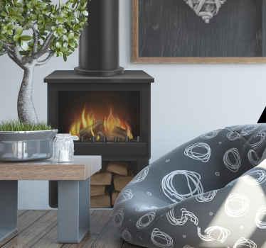 Adesivo da parete per bruciatore di tronchi con l'immagine di un classico bruciatore con fuoco scoppiettante al centro e una pila di tronchi.