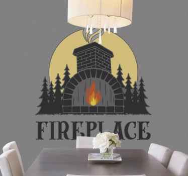 stickers  de cheminée pour la maison, le bureau. La conception de la cheminée illustre une cheminée de style ancien en brique avec une cheminée