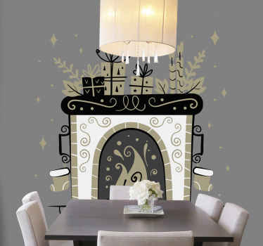 Beautiful looking festive fireplace object decal that can be decorated on a common space such as living room, dinning, lounge, guest space, etc.