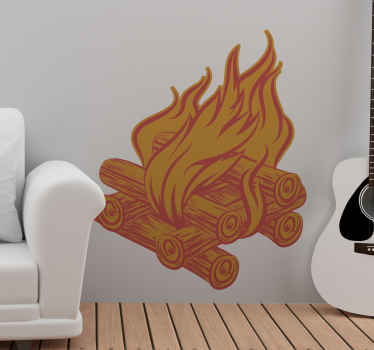 A decorative burning logs object wall sticker imitating a fireplace. You can decorate any part of a house with this design. It is made of quality.