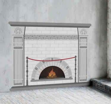stickers d'objet de dessin décoratif d'une cheminée murale en brique blanche. Le produit est fabriqué avec une qualité supérieure et durable.