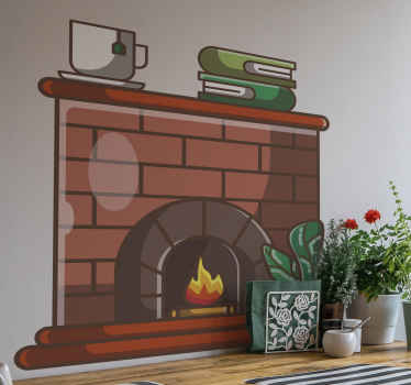 Beautiful brick wall fireplace illustration wall decal with books and coffee cup. The product is made from quality vinyl and available in sizes.