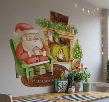 Beautiful fireplace Christmas decal with father Christmas and Christmas tree with giftbox. Made with quality vinyl and available in any size you want.