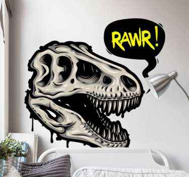 Dinosaur skeletal head decal illustration, a design  for lovers of dinosaur. Made with quality vinyl, durable and easy to apply.